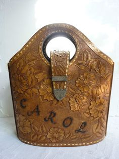 Vintage Western Tooled Leather Purse with Silver Letters Carol