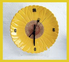 Kitchen Plate Clock Wall Daisy Design by RFForeverClocks on Etsy, $27.00