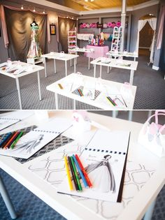 project runway party work room with sketchpads for the kids