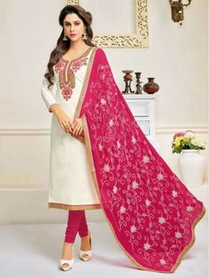 Dresses 2018 - Embroidered Churidar Suits in Off White Churidar Suits, Salwar Kameez, Eid Dresses, Punjabi Suits, Indian Wear, Indian Outfits, Off White, Sari, How To Wear