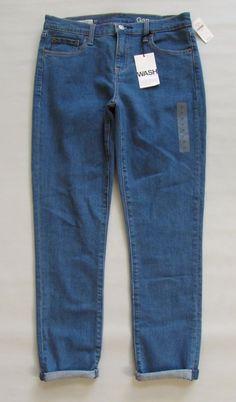 "New GAP 1969 Authentic Best Girlfriend Jeans 27 4 Denim 28"" Medium Indigo Hol15 #GAP #Relaxed"