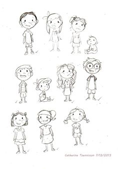 "Character Sketches for ""Not a Giggle Story"" by Elsa Takaoka, illustrated by Catherine Toennisson"