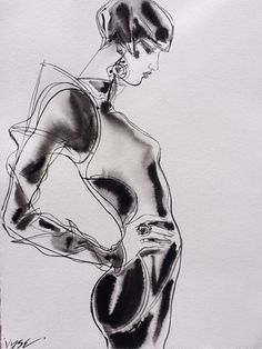 "Fashion Curves by Vyse  Indian ink 22""x30"""
