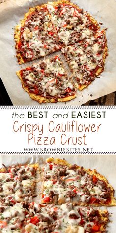 Best And Easiest Low Carb Cauliflower Pizza Crust using frozen riced cauliflower. This crispy cauliflower pizza crust is the best I've ever had. pizza Best And Easiest Low Carb Cauliflower Pizza Crust Easy Cauliflower Pizza Crust, Califlower Pizza, Zucchini Pizza Crust, Riced Cauliflower, Califlour Pizza Crust, Frozen Cauliflower Recipes, Low Carb Veggie, Low Carb Pizza, Keto Foods