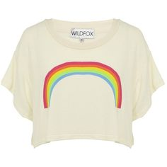 Wildfox Rainbow Cropped T-Shirt (315 BRL) ❤ liked on Polyvore featuring tops, t-shirts, shirts, blusas, print t shirts, pattern t shirt, pattern shirt, rainbow t shirt and fleece t shirt
