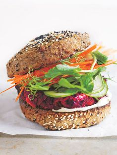 This burger recipe is a wholesome and perfect for a quick midweek meal. Beetroot Burgers, Vegan Burgers, Vegan Vegetarian, Vegetarian Recipes, Healthy Recipes, Donna Hay Recipes, Cold Meals, Barbecue Recipes, Healthy Cooking