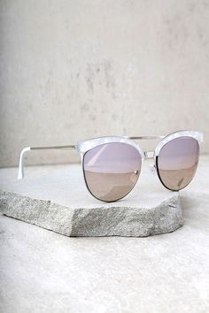 b59011f8f4 Those with the Nice Girls White Marbled Mirrored Cat-Eye Sunglasses always  finish first!