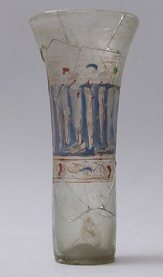 14th century; Beaker; Syria; Islamic; Glass, enameled; Dimensions: H. 6 in.; Accession Number: 30.95.16