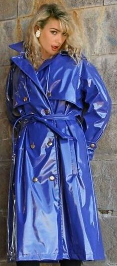 Blue PVC Raincoat.