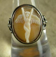 Vintage Victorian Cherub Cameo Ring Nude art by vintagesparkles