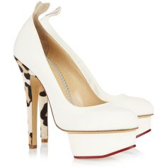 Charlotte Olympia Love Dolly twill and calf hair pumps via Polyvore