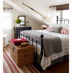 board and batten bedroom | angled wall | cottage bedroom