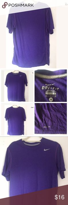"""NIKE DRI-FIT Mens Purple M  Exercise t-shirt tee NIKE DRI-FIT Mens Purple M  t-shirt tee clothing athletic golf Exercise  Descriptions: Brand- Nike, Dri-Fit Tag Size- Medium Color- Purple Made in Mexico Nike Logo top Left Front Dri-Fit Logo on Right Bottom Right Pet Free Smoke Free  Measurements: Shoulder To Shoulder-18"""" Sleeve-10"""" Chest- (Lying Flat)-22"""" Length-28"""" Thank You for Shopping at Chiqui's Spot  -Shipping  Item will ship within 1 business day Nike Shirts Tees - Short Sleeve"""