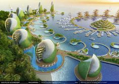 Visionary eco-resort design for the Philippines features rotating seashell towers Nautilus Eco-Resort, Vincent Callebaut, eco resort, eco travel, tropical eco Floating Architecture, Green Architecture, Concept Architecture, Futuristic Architecture, Sustainable Architecture, Sustainable Design, Amazing Architecture, Architecture Design, Sustainable Energy