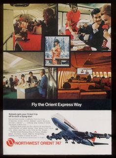 northwest orient airlines | 1971 Northwest Orient Airlines 747 Plane Stewardess Bartender etc 5 ...