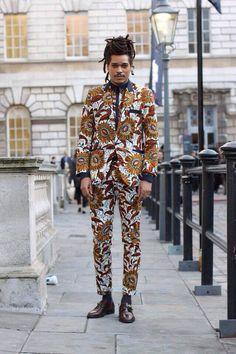 African fashion, mens suit, london street fashion, dent de man | Raddest Looks On The Internet: http://www.raddestlooks.net