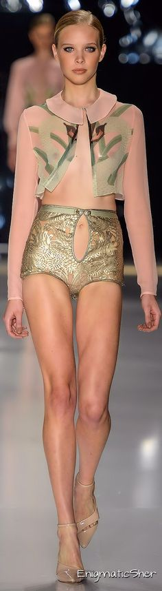 Organic patterns and blush + gold colors. Nice combo. ADRIANA DEGREAS Summer 2015 Ready-to-Wear