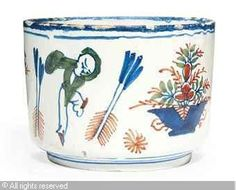A LONDON POLYCHROME CHINOISERIE SUGAR-BOWL   Date : ca 1720