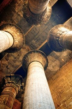 Columns, Temple of Karnak, Luxor, Thebes, Egypt Ancient Ruins, Ancient Art, Ancient Egypt, Ancient History, Art History, Ancient Architecture, Amazing Architecture, Architecture Details, Architecture Definition