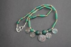 SPIRALS & ANCIENT GLASS Statement Necklace by FUSIONJewelryStudio