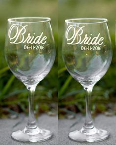 Lesbian Wedding Bride and Bride Wine Glasses with by EVerre