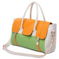 top handle bags: Orange Green and Beige Textured Top Double Handle Removable Adjustable Shoulder Strap Front Buckles Tote Satchel Handbag Purse Daybag Tote Purse, Purse Wallet, Tote Bags, Day Bag, Green Bag, Satchel Handbags, Fashion Handbags, Designer Handbags, Messenger Bag