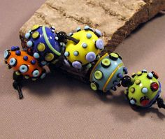 Handmade Lampwork Beads by Monaslampwork - Colorful Layered Dots and Fine Stringer - Lampwork Glass Beads by Mona Sullivan Organic Colorful