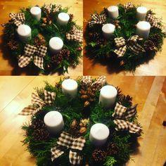 Christmas decorations, advent wreath N1, 2016 Christmas Wreaths, Christmas Decorations, Table Decorations, Holiday Decor, Advent Wreath, Fun, Home Decor, Christmas Garlands, Homemade Home Decor