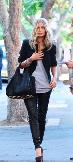 Basics blazer , loose sweater, leather(look) leggings heels, like the leggings w the suede heels, = softer