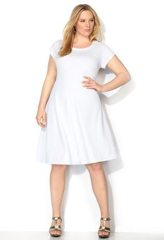 White Chevron Textured Skater Dress-Plus Size Dress-Avenue