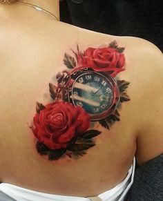 Realistic red rose with  watch tattoo - 40 Eye-catching Rose Tattoos  <3 <3