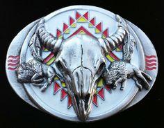 WESTERN NATIVE INDIAN AMERICAN ART LONGHORN BELT BUCKLE #longhorns #longhornsbuckle #longhornsbeltbuckle #texaslonghorns #western #westernbuckles #animal #beltbuckle #coolbuckles