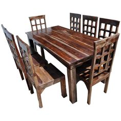 Sierra Nevada Large Round Rustic Solid Wood Dining Table & Chair Set ...