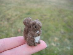 Needle Felted Brown Squirrel Tiny Miniature by LittleElfsToyshop, $16.00