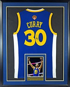 "c0c505ed9b8 Stephen Curry Autographed Blue Jersey w  Finals Patch w  Inset  ""Celebration"" Photo"