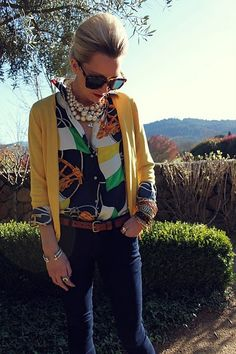 classs-y...not sure I could pull off the print on the shirt but I LOVE the bold jewelry!