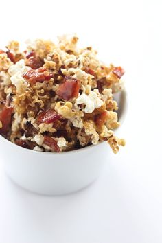 Sweet maple syrup, crispy bacon and good bourbon combine with popcorn for a sweet and salty snack!