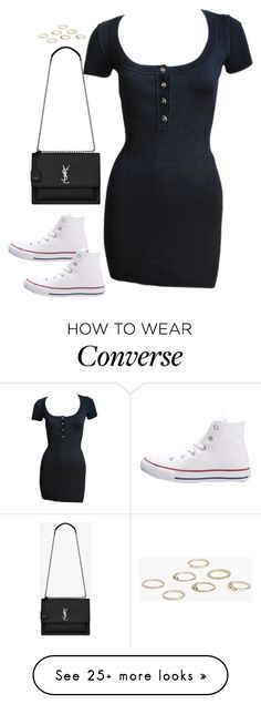 """""""Sem título #5327"""" by fashionnfacts on Polyvore featuring Alaïa, Converse, Yves Saint Laurent and Boohoo"""