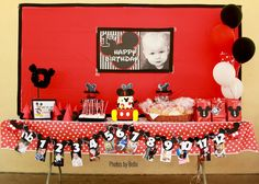 Mickey Mouse Birthday Party | Dessert Table. love the number mickey banner