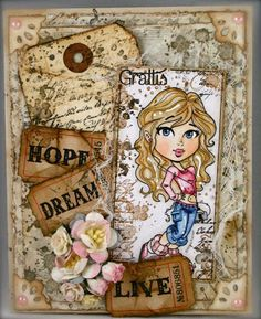 A card with many stamps and details  http://blog.pysseldags.com
