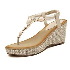 Inkach Women Fashion Sandals Casual Shoes Flats Bohemian Herringbone High help Sandals Beach Shoes 7 BM US Beige -- Click image for more details.(This is an Amazon affiliate link)