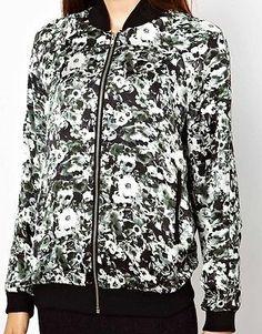 New Womens Lady Vintage Flower Floral Print Zipper Bomber Jacket Coat Size s M L | eBay
