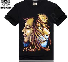 Bob Marley Reggae music rock and roll music 3d printing design cotton T-shirt