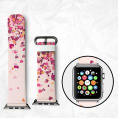 Apple Watch Band for Series 1 Series 2, Leather Strap Wrist Band with Metal Clasp 38mm 42mm Adapter - Red and Pink Hearts