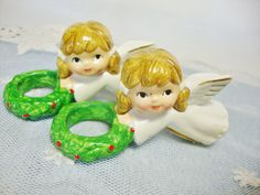 christmas angel vintage candle rings