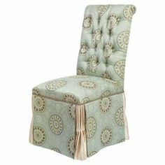 """Wood-framed parsons chair with a button-tufted back and skirted jacquard upholstery.  41.5"""" H x 19.75"""" W x 26.75"""" D"""