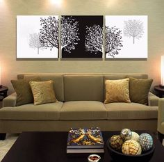 Abstract black and white still life 3 panels canvas wall art tree oil paintings for living room wall pictures