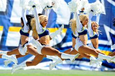 San Diego Chargers cheerleaders try to give the crowd a boost