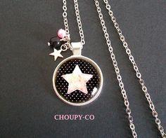 Collier cabochon * étoile * rose pastel noir pois argenté sautoir bijou fantaisie : Collier par choupy-co