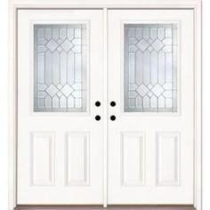Feather River Doors Mission Pointe Half Lite Primed Smooth Fiberglass Double Entry Door-882170-400 at The Home Depot